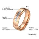 O ouro de Rosa chapeou o anel do aço inoxidável dos jogos do anel da jóia das senhoras