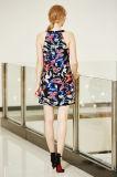 Mini vestido Chiffon alargado da camada dobro na cópia agradável da borboleta