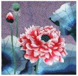 Pintura coloreada enmarcada flor moderna del bordado para la decoración casera
