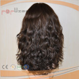 Il doppio ondulato naturale europeo dei capelli umani del Virgin di 100% Remy annoda la parrucca superiore di seta