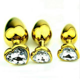 o sexo anal do plugue da extremidade da jóia de cristal Shaped dourada quente do aço inoxidável do coração do Sell 5PCS/Lot brinca o tamanho médio 35mm x 80mm GS0314