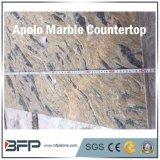 Vanidad fuerte amarillenta de la encimera del mármol del conjunto y piedra natural del cuarto de baño