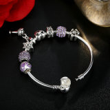 I braccialetti Openwork di fascino del cuore con il cristallo viola borda i braccialetti & i braccialetti per i monili delle donne