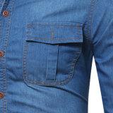 Люди рубашки джинсовой ткани рубашки джинсыов втулки горячего пальто джинсовой ткани типа длинние
