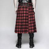 Q-325 Punk Rave estilo escocés de metal pesado Rivet PU falda masculina