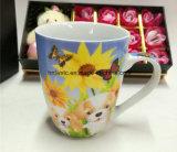 Tazza di caffè di ceramica di promozione 11oz con il disegno del fiore per il giorno della donna