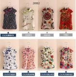 子供のスーツの夏のスーツはスーツの方法スーツの花のスーツの100%年の綿にスリーブを付ける
