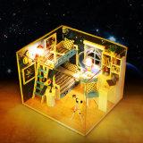 Доступный по цене с подсветкой и мебель DIY Dollhouse миниатюрный деревянный дом