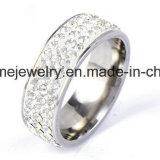 Shineme Joyas de acero inoxidable de doble hilera de piedras dedo el anillo (CZR2585)