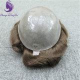 #6 인도 인간적인 Remy 머리 얇은 피부 Toupee
