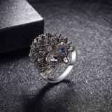 ハリネズミの動物の黒いレトロの卸し売り方法宝石類の合金のリングの宝石類
