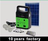 携帯用10W太陽電池パネルのリチウム電池のホームFMのラジオが付いている太陽系LED太陽ライト