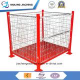 Plegable y apilable de metal rígido de almacenamiento de soldadura de alambre de la jaula de paletas