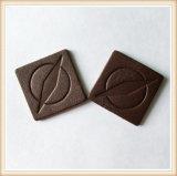 Etiqueta genuína gravada pressionada quente do couro de Brown da marca da sarja de Nimes feita sob encomenda