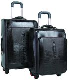 I bagagli di cuoio del sacchetto di corsa dei bagagli hanno impostato con le rotelle del filatore