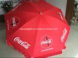 Parasol relativo à promoção do guarda-chuva de praia com a cópia do logotipo do cliente