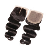 Virgem grossista Lace Encerramento Onda Corpo Cabelo humano indiano Extensão de cabelo preto natural