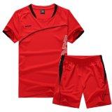 O Tshirt curto do treinamento do futebol do futebol da luva personaliza Sportsuit Running Quick-Dry
