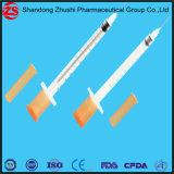 Medizinische Wegwerfprodukt-orange Schutzkappen-Insulin-Spritze