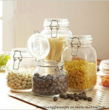 Frasco desobstruído fornecido do armazenamento do recipiente de vidro/alimento de amostra livre com a tampa para o Kitchenware