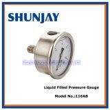 Lubrificare tutto il manometro riempito liquido liquido dell'anello di rotolamento degli ss