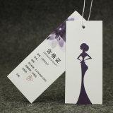 Kundenspezifische Firmenzeichen-Goldfolien-UVdrucken-Kleid-Schwarz-Pappfall-Marken, Hangtag für Kleid