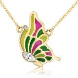 普及した宝石類の方法女性イエロー・ゴールド蝶ペンダントのネックレス