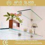 China heló estantes detrás pintados del vidrio Tempered con el borde Polished plano