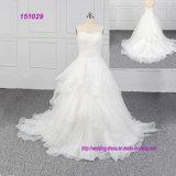 Robe de bal d'Ivoire nervurage en dentelle Tulle Zipper Retour Plus taille robes de mariage de mariée