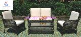 Im Freien Schnittmöbel PET Weidenrattan-Sofa-gesetzte Plattform-Couch