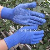 Mini-points en PVC Bleu Gants Gant de travail de la sécurité en polyester