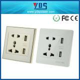 5V 2.1A se doblan socket de pared del USB con el universal del socket 16AMP