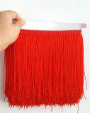 ダンスの服のための赤いナイロン二重糸のフリンジ