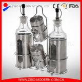 Bouteille en verre pour vinaigre d'huile Poivre salé avec étagère en acier inoxydable