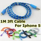 iPhone5를 위한 Nylon 다채로운 Fabric Braided USB Cable