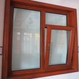 Europäische Art-hölzernes plattiertes doppeltes Schärpe-Flügelfenster-Aluminiumfenster für Wohnhaus