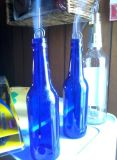 2016卸し売り最上質の円形のBluecoloredのガラスビール瓶