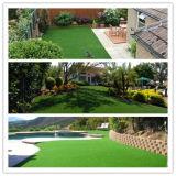 Césped artificial de las alfombras del jardín de la decoración al aire libre recta y rizada del PE del monofilamento