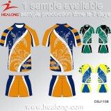 L'usine de Healong Chine folâtre des chemises de rugby d'allumette d'école de sublimation de vitesse de vêtement