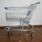 Trole galvanizado da compra do supermercado de 4 rodas cromo de aço