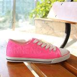 夏の明るいカラーの女性の靴のスニーカーのズック靴