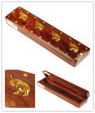 Rectangular, madera, pluma, caja, incrustaciones, decoraciones