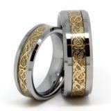 Alta Polidos Tungsten Dragon Inlay anel giratório. Anel de inlay Dragão de ouro. Anel de homens