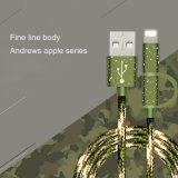 2 em 1 Camo USB 2.0 Verde 2um fio de cabo de carregamento