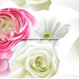 Disperse 100%Polyester Cream Rose 3D напечатал ткань для комплекта постельных принадлежностей