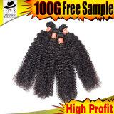 Бразильские волосы человеческих волос 100% с курчавым Weave