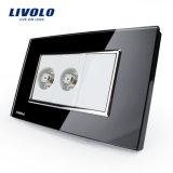Socket estándar del vidrio cristalino TV de la pared de la cuadrilla de Livolo 2 (VL-C392ST-81/82)