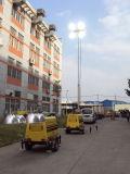 rimorchio meccanico mobile portatile mobile manuale della torretta chiara della torretta di illuminazione dell'argano 6~13kw della lampada Halide di metallo 1000With1500W 9m