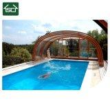 Крышка плавательного бассеина изготовленный на заказ крышки крыши поликарбоната размера цвета Retractable