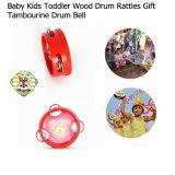木の赤ん坊の幼児の漫画のTambourine手のドラム鐘のミュージカルのおもちゃ